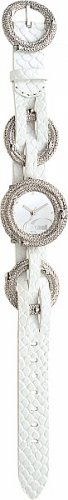 JUST CAVALLI 7251 305 035 CRISS CROSS SS MIRROR DIAL.WHITE STRAP - Criss Cross